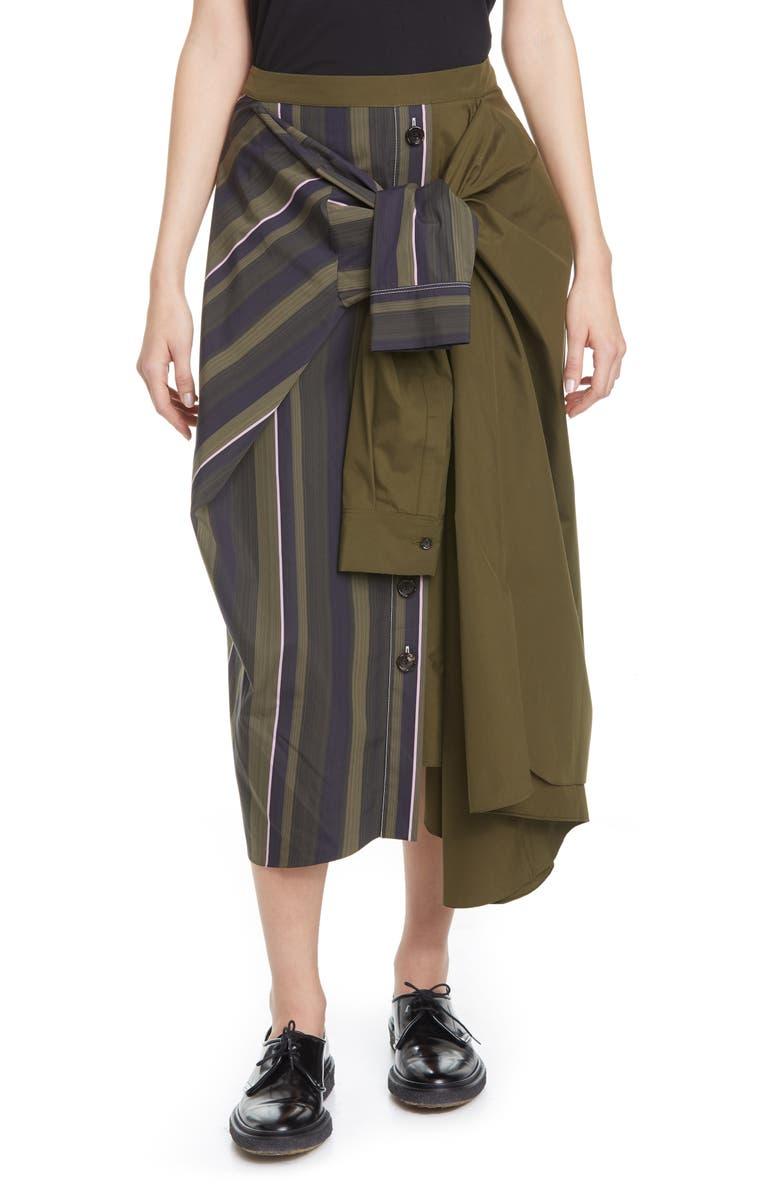 MARNI Tie Front Asymmetrical Cotton Midi Skirt, Main, color, DARK OLIVE