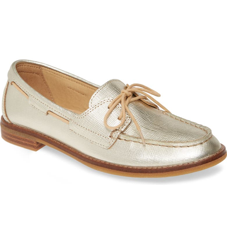 SPERRY Seaport Loafer, Main, color, GOLD SAFFIANO LEATHER