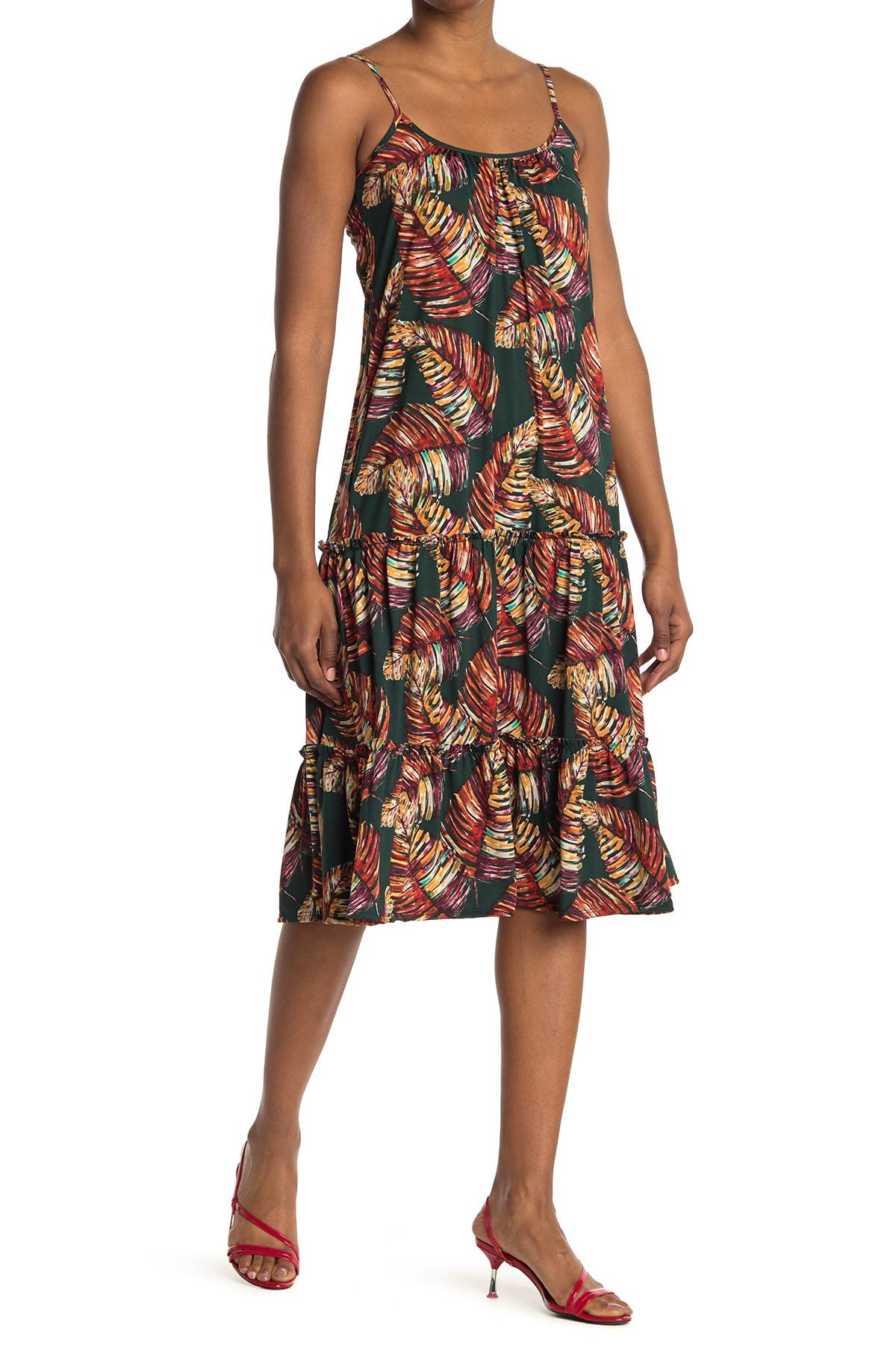 Image of Velvet Torch Floral Print Tiered Tank Dress
