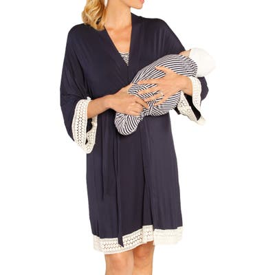 Angel Maternity Nursing Dress, Robe & Baby Blanket Pouch Set, Blue