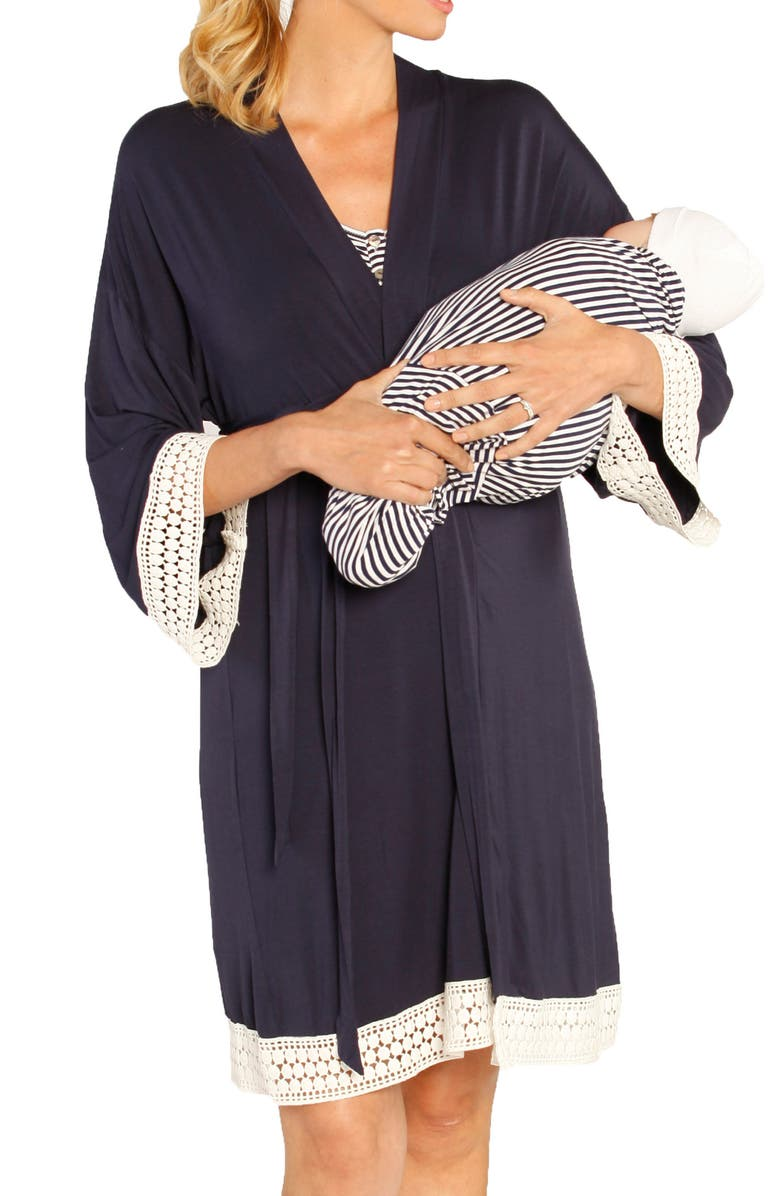 ANGEL MATERNITY Nursing Dress, Robe & Baby Blanket Set, Main, color, NAVY STRIPES