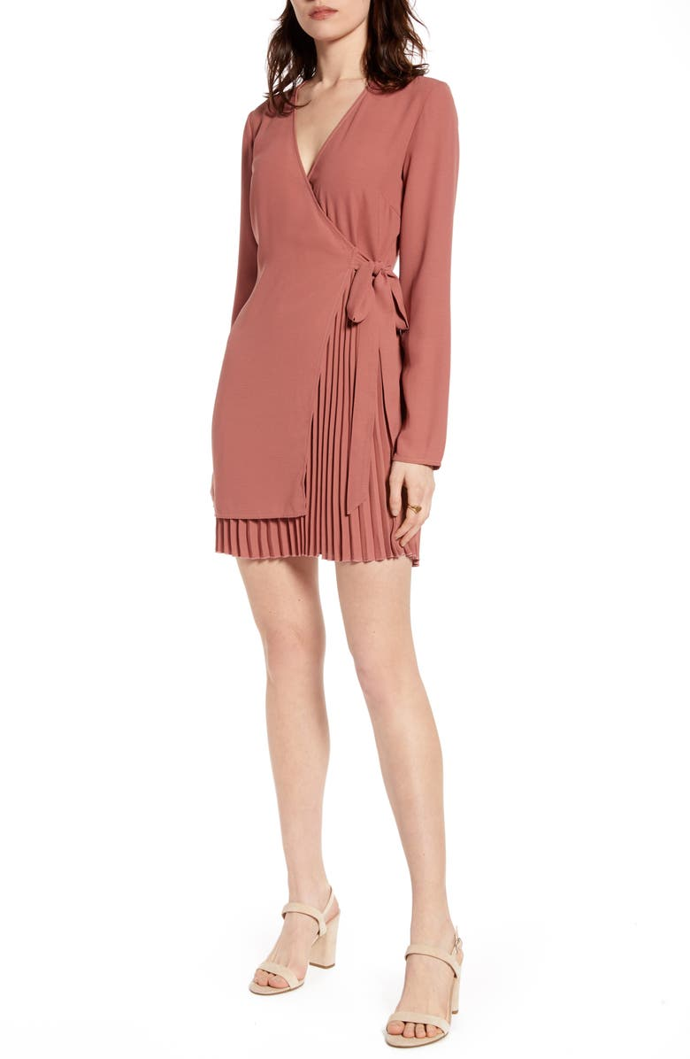 NA-KD Pleated Detail Long Sleeve Wrap Dress, Main, color, DUSTY PINK ROSE
