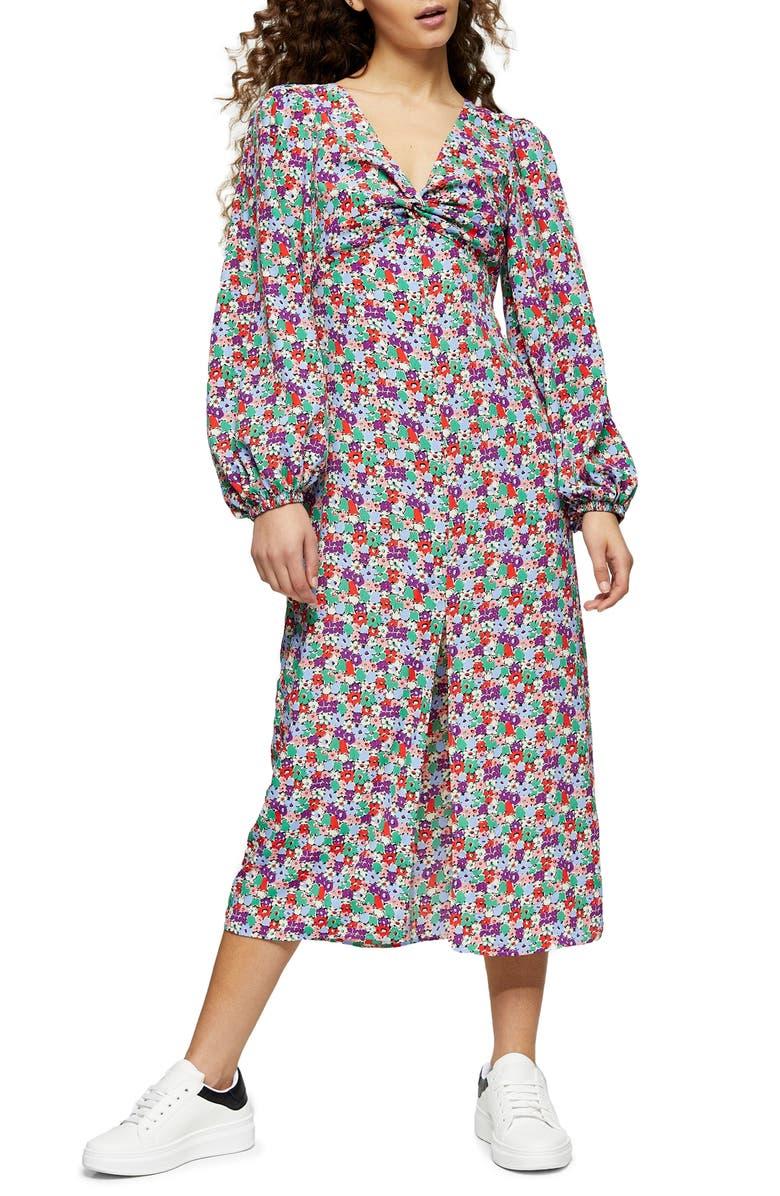 TOPSHOP Floral Twist Front Long Sleeve Midi Dress, Main, color, BLACK MULTI
