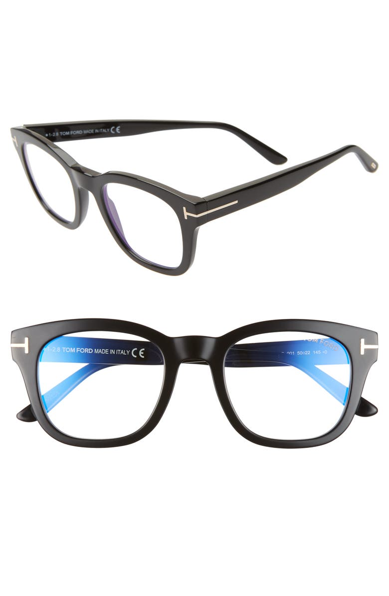 TOM FORD 50mm Blue Light Blocking Glasses, Main, color, SHINY BLACK/ ROSE GOLD