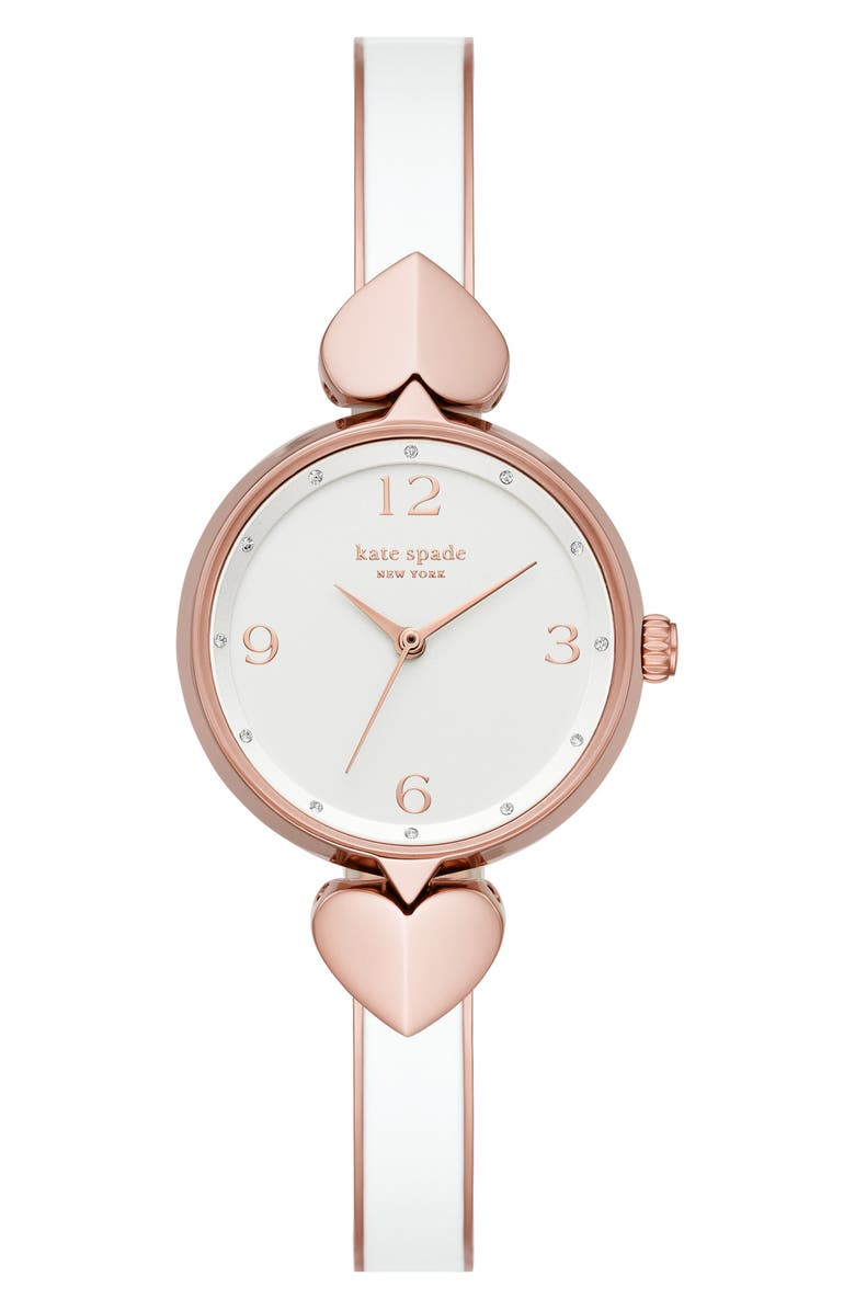 KATE SPADE NEW YORK hollis bracelet watch, 30mm, Main, color, WHITE MULTI/ ROSE GOLD