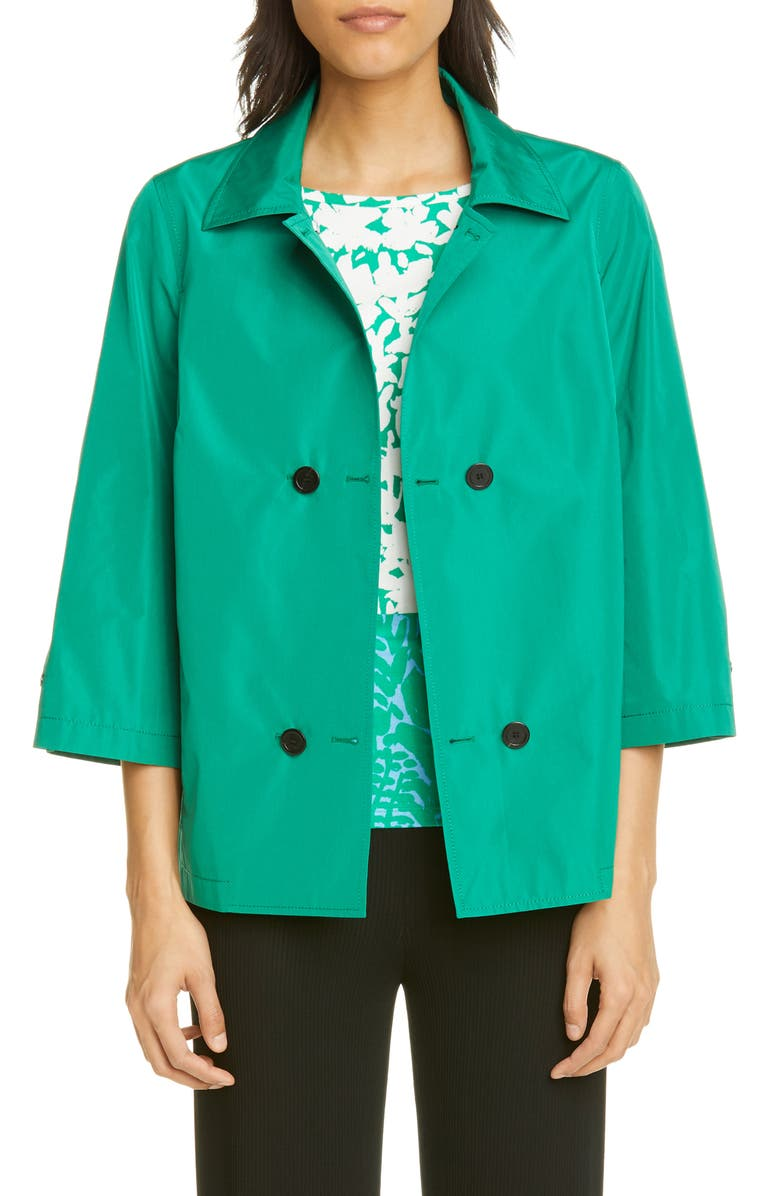 ST. JOHN COLLECTION Lightweight Taffeta Double Breasted Jacket, Main, color, DARK GRASS GREEN