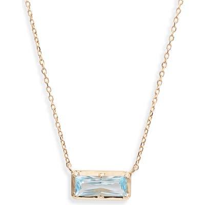 Anzie Dew Drop Baguette Blue Topaz Pendant Necklace