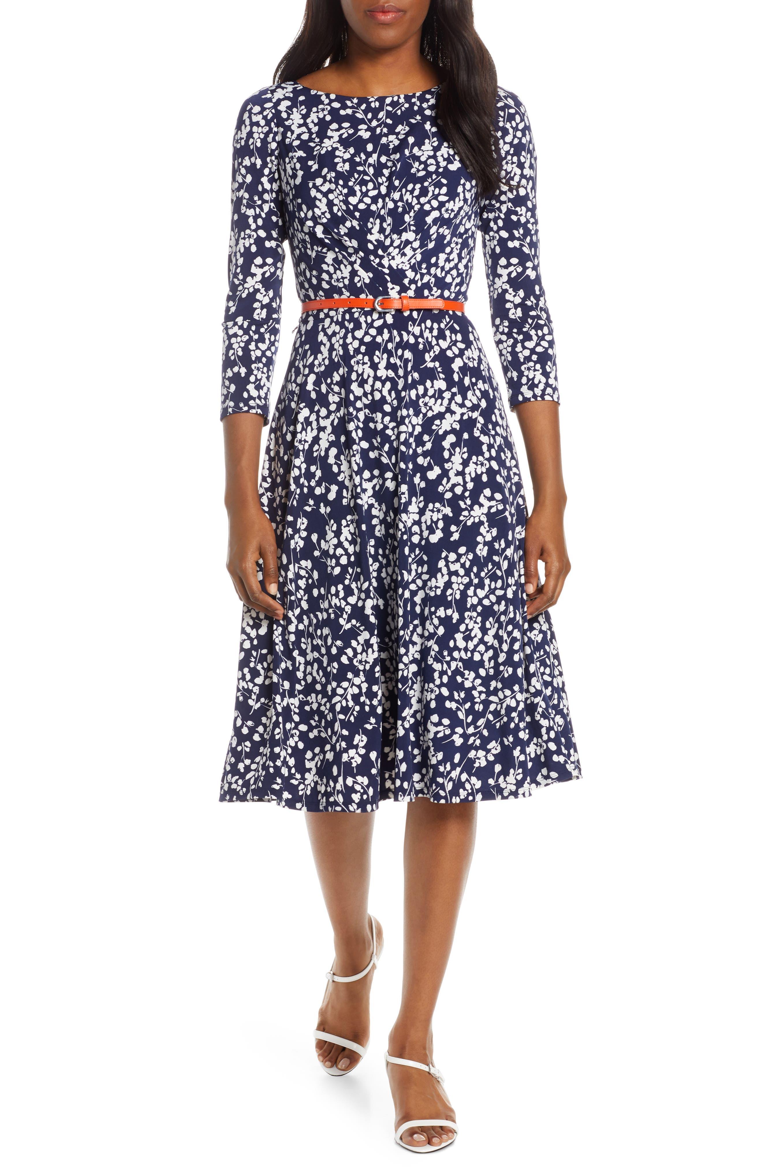 Petite Harper Rose Floral Print Belted Midi Dress, Blue