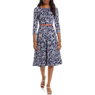 Harper Rose Floral Print Belted Midi Dress, Blue