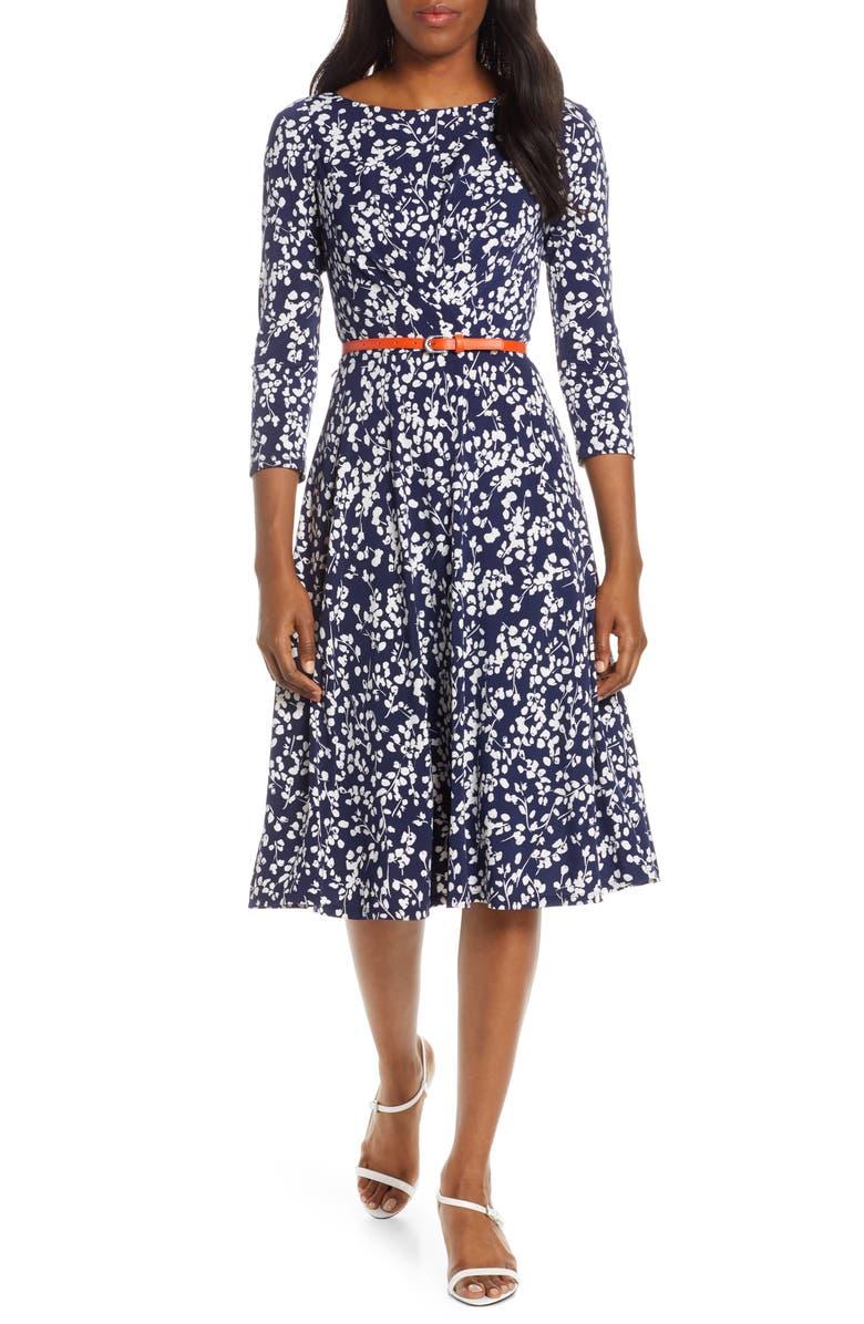 Floral Print Belted Midi Dress by Harper Rose