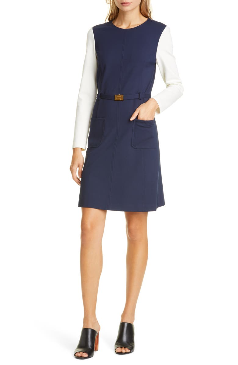 TORY BURCH Colorblock Long Sleeve Ponte Dress, Main, color, TORY NAVY