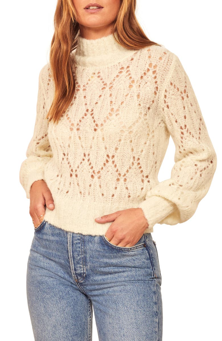 REFORMATION Pointelle Turtleneck Sweater, Main, color, IVORY
