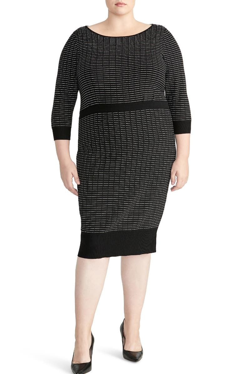 RACHEL ROY COLLECTION Stripe Ribbed Dress, Main, color, 001