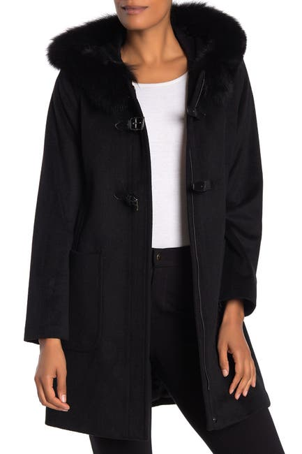 Image of Trina Turk Genuine Fox Fur Trim Wool Blend Coat