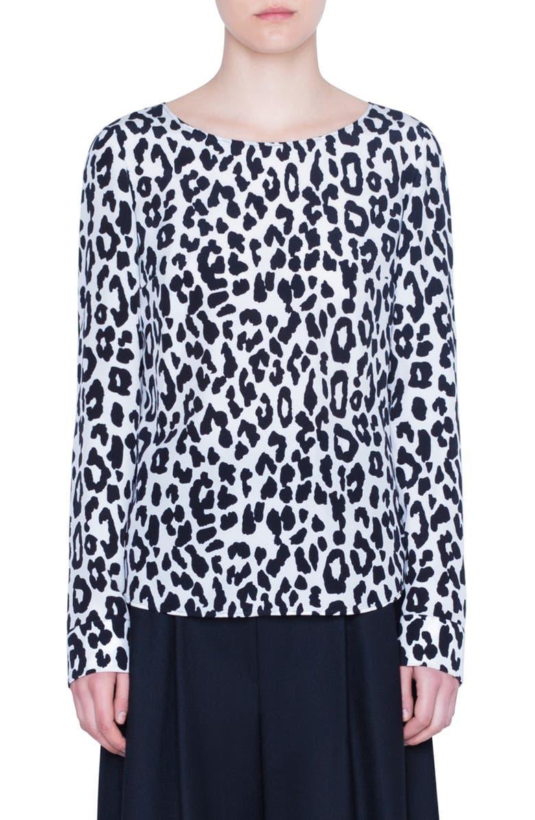 AKRIS PUNTO Leopard Print Silk Blouse, Main, color, OFFWHITE/ BLACK