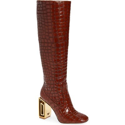 Tory Burch Jessa Hardware Heel Knee High Boot, Brown