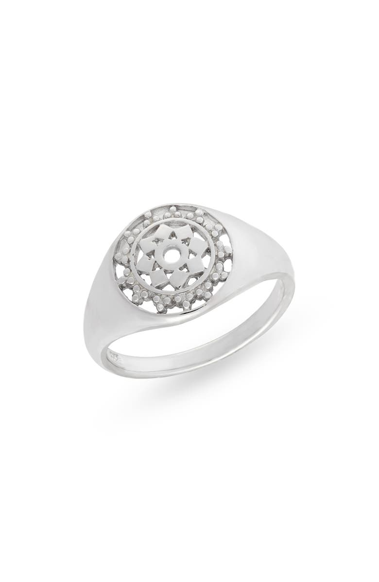 STERLING FOREVER Lace Window Signet Ring, Main, color, SILVER
