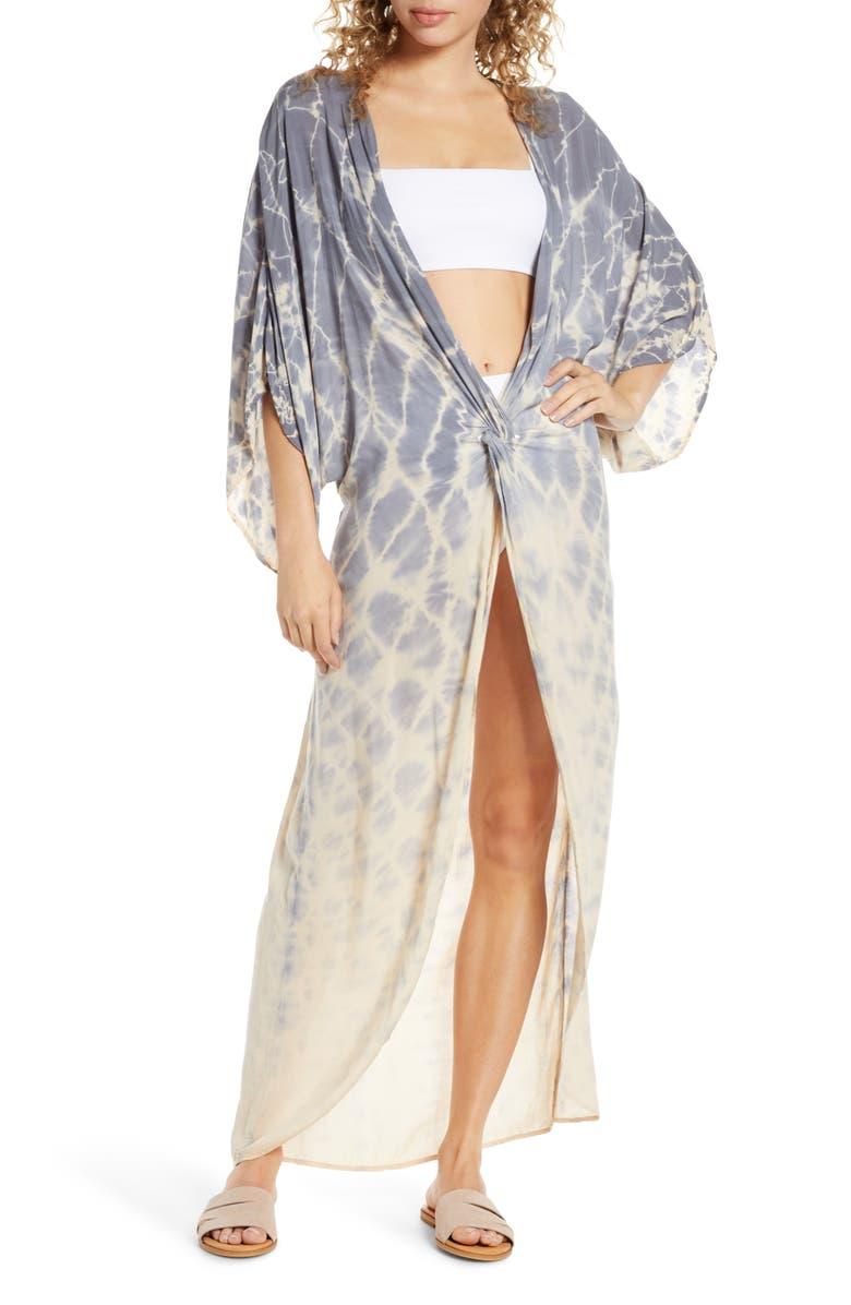 SURF GYPSY Tie Dye Twist Cover-Up Dress, Main, color, PEACH/ GREY