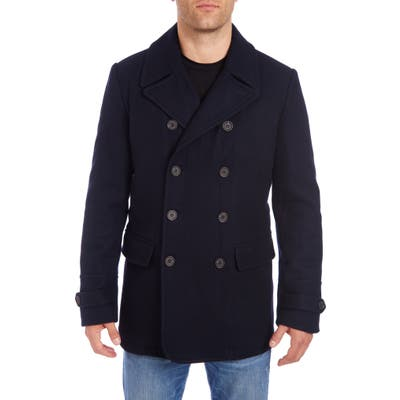Vince Camuto Water Resistant Wool Blend Peacoat, Blue