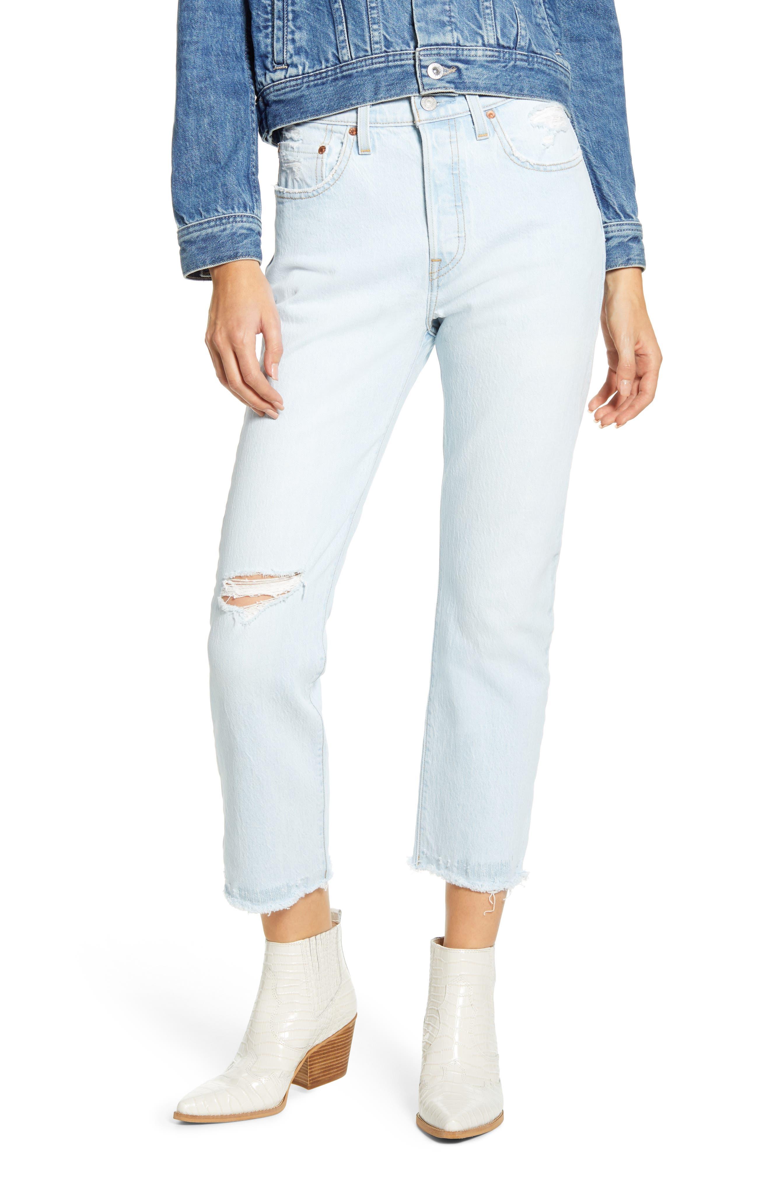 Women's Levi's 501 Ripped High Waist Crop Straight Leg Jeans,  26 x 26 - Blue