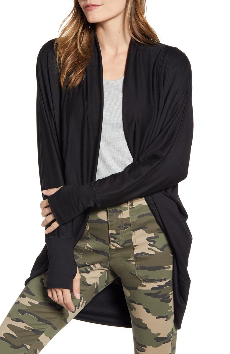 CASLON<SUP>®</SUP> Off Duty Knit Cardigan, Main, color, BLACK