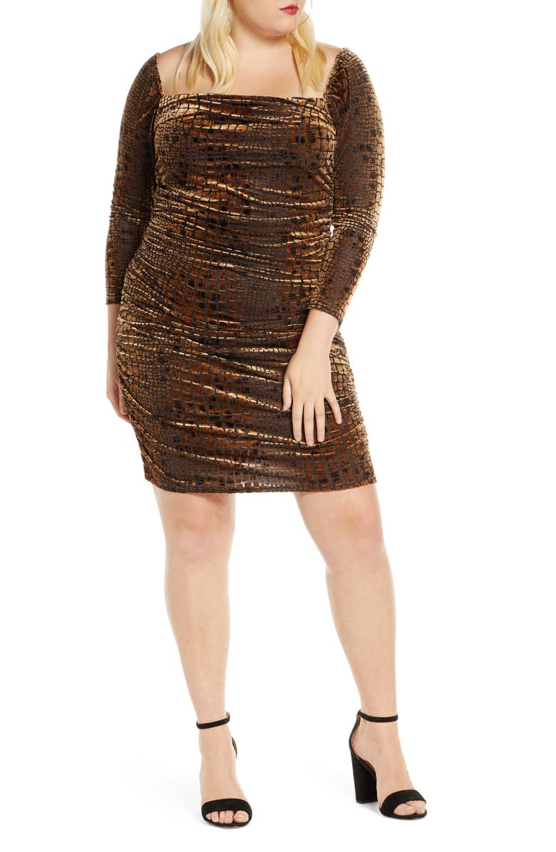 LEITH Long Sleeve Ruched Velour Minidress, Main, color, BROWN BEAR REPTILE BURNOUT