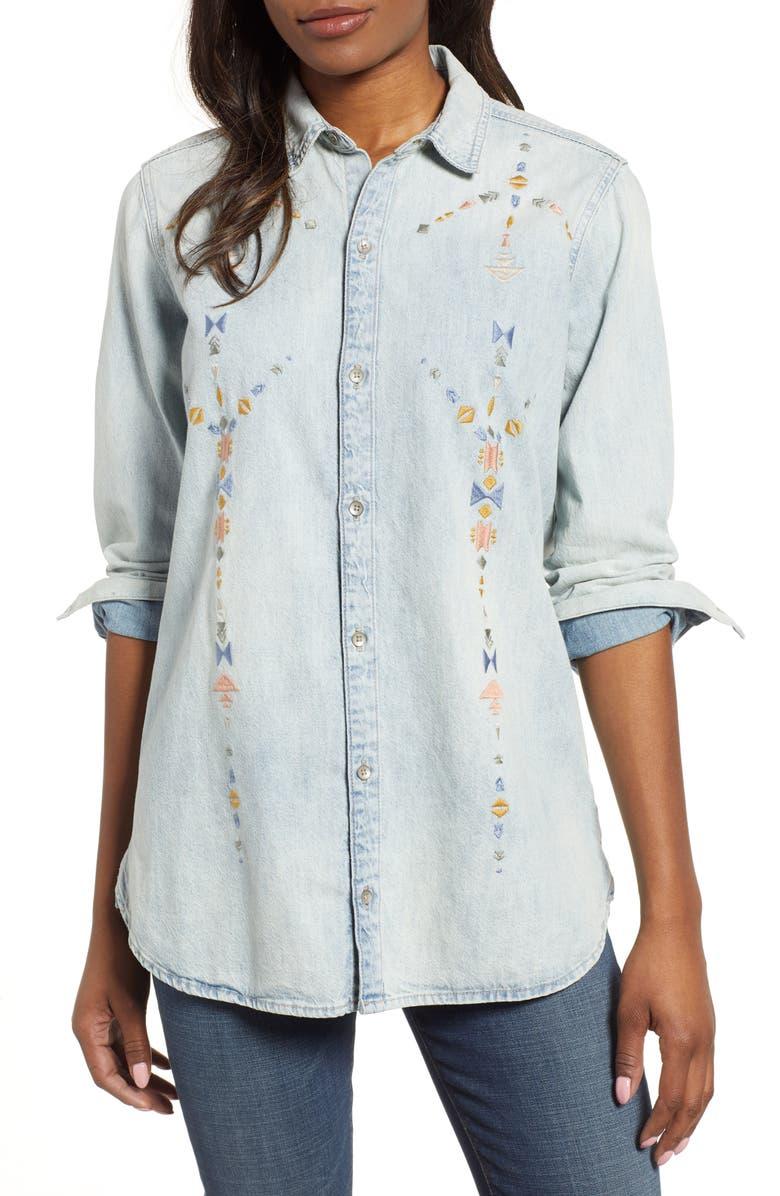 16de5c0458d6e Lucky Brand Embroidered Boyfriend Shirt | Nordstrom