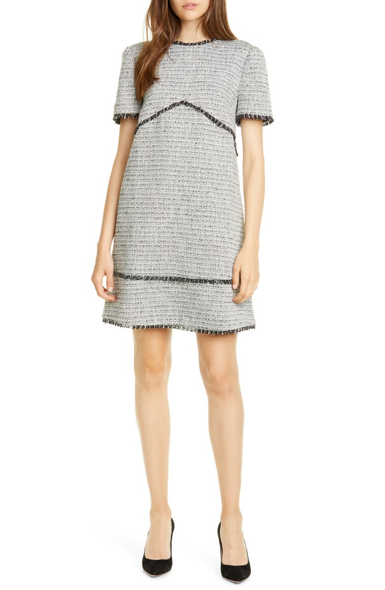 TED BAKER LONDON Aleiced Tweed Shift Dress, Main, color, CHARCOAL