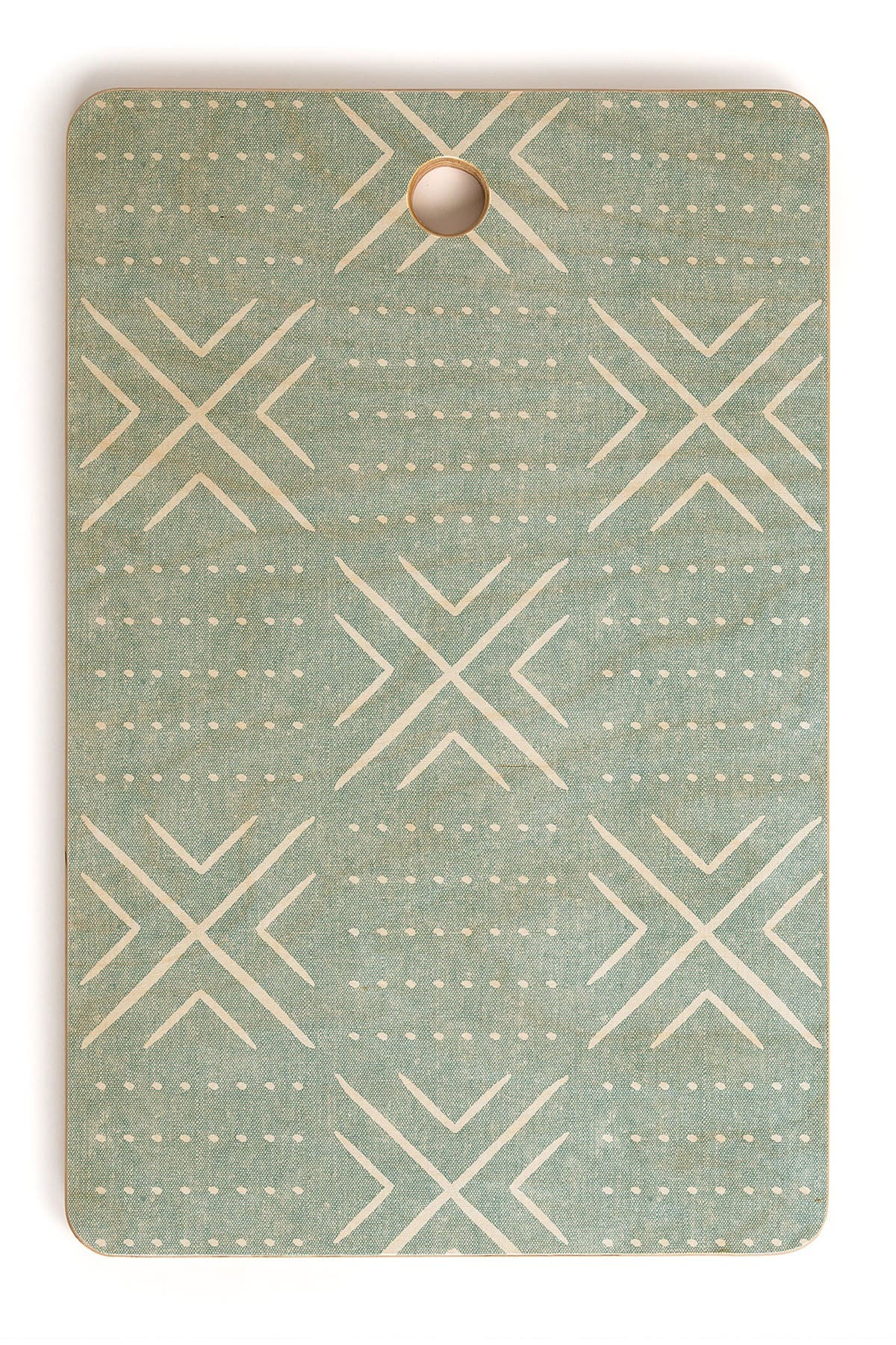 Image of Deny Designs Little Arrow Design Co Mud Cloth Tile Dusty Blue Rectangle Cutting Board