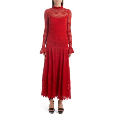 Alexander Mcqueen Lace Pointelle Long Sleeve Maxi Sweater Dress, Red
