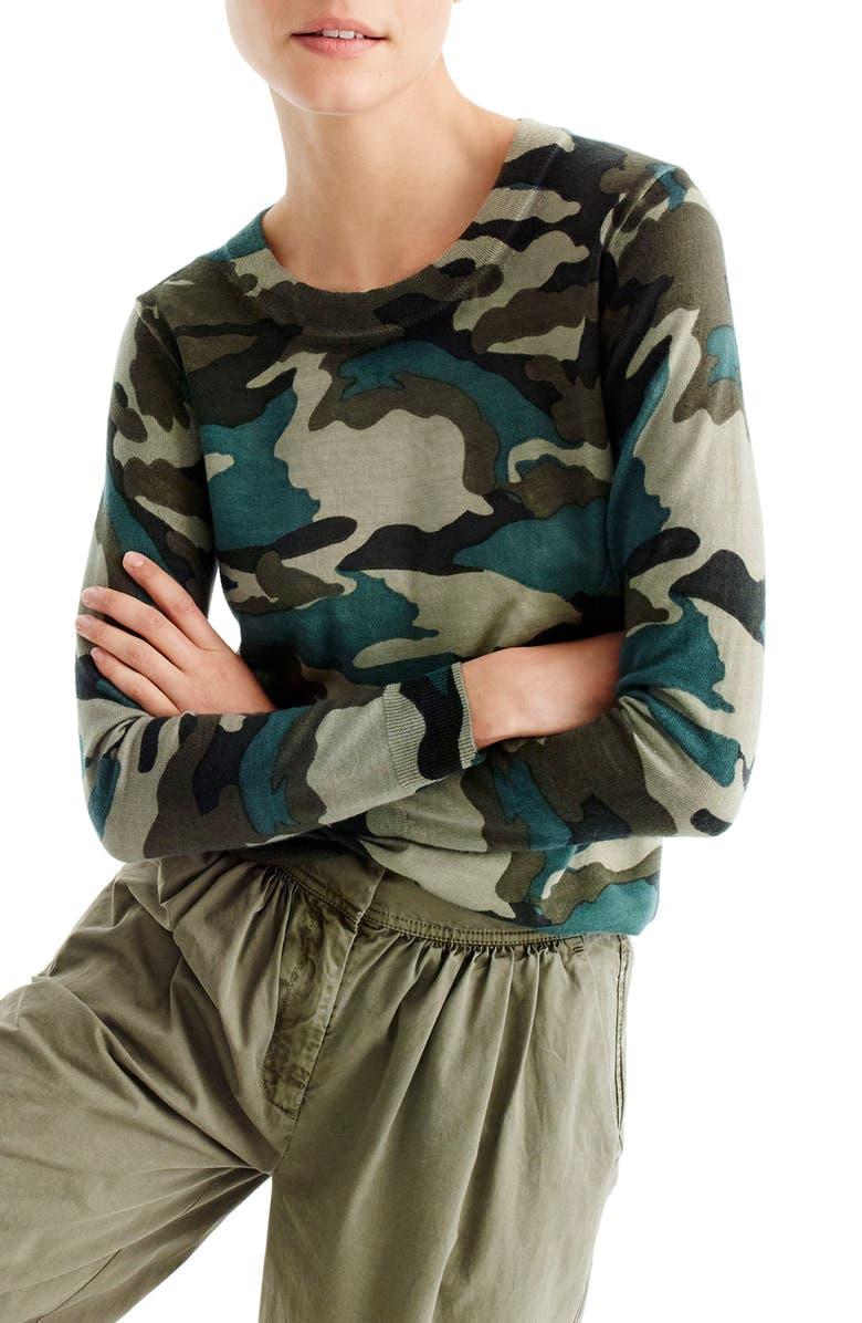 J.CREW Camo Tippi Merino Wool Sweater, Main, color, 309