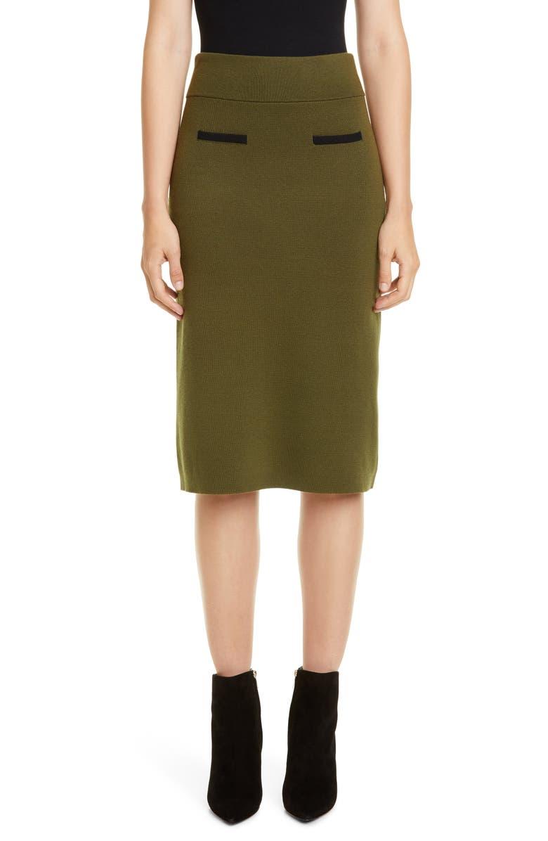 VICTOR GLEMAUD Merino Wool Sweater Skirt, Main, color, GREEN