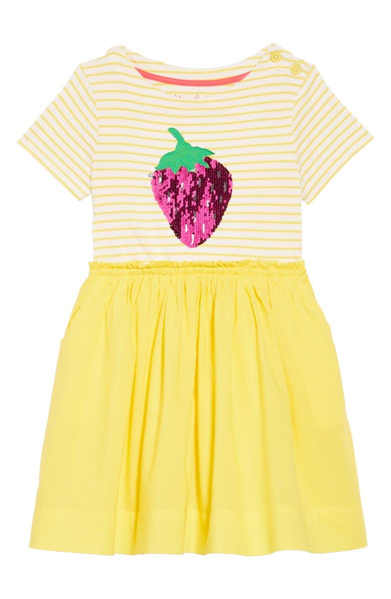 Mini Boden Color Change Sequin Strawberry Dress Toddler Girls