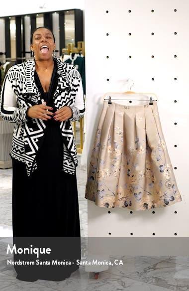 Floral Metallic Jacquard Pleated Skirt, sales video thumbnail