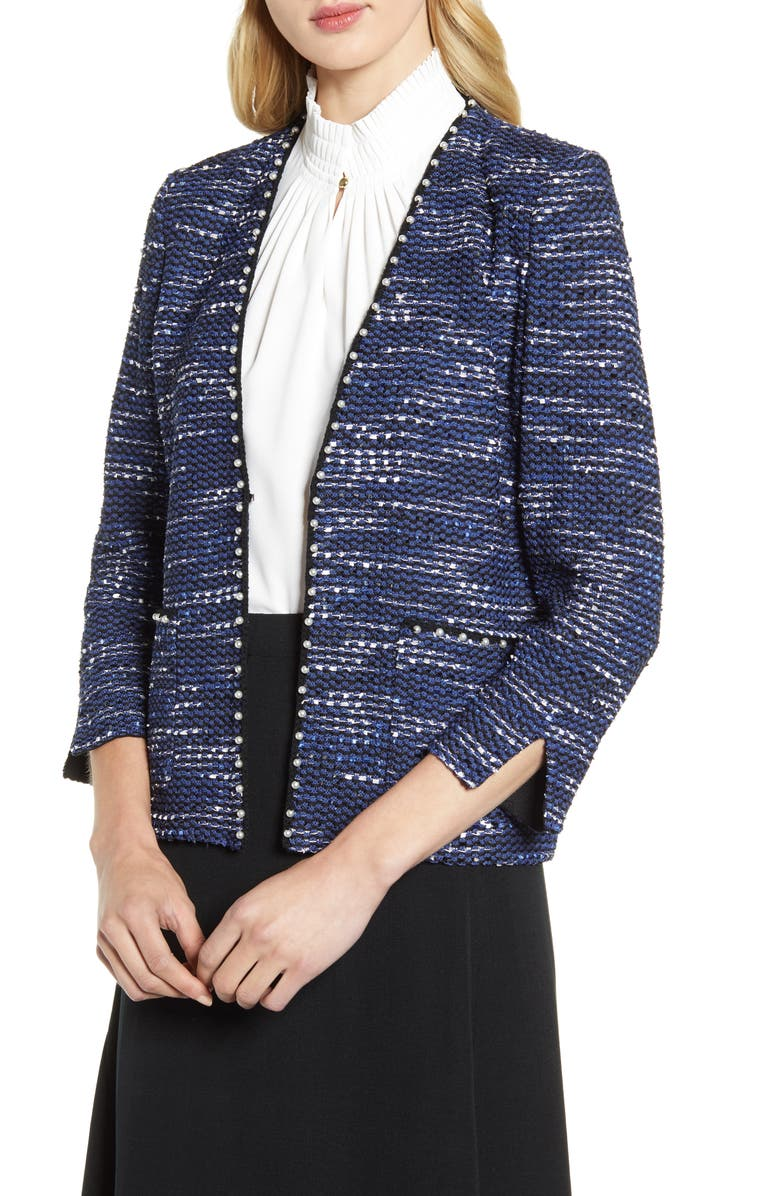 MING WANG Pearl Trimmed Tweed Jacket, Main, color, SPECTRUM BLUE/ANTIQUE WHITE