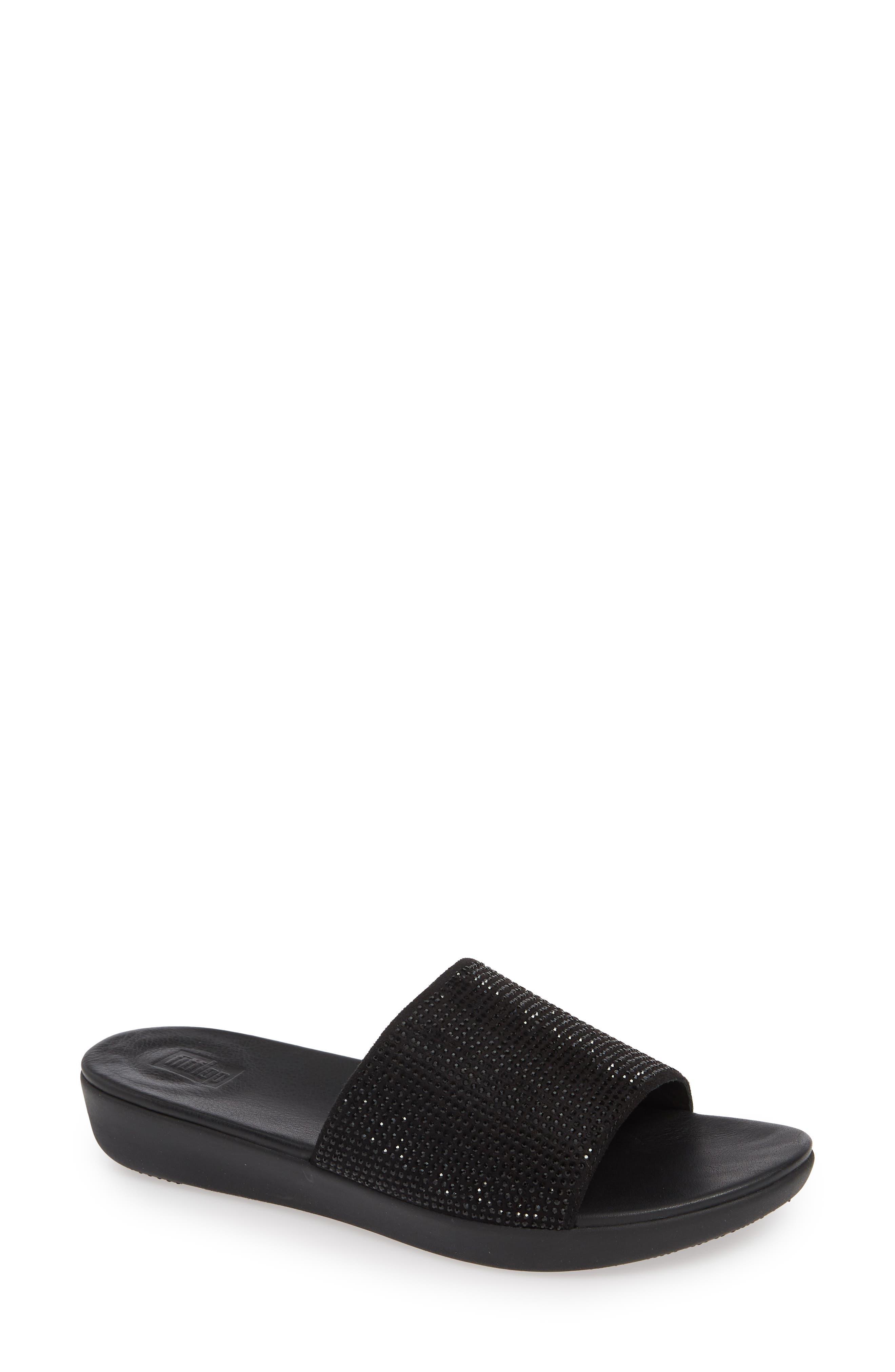 Fitflop Sola Crystalled Slide Sandal, Black