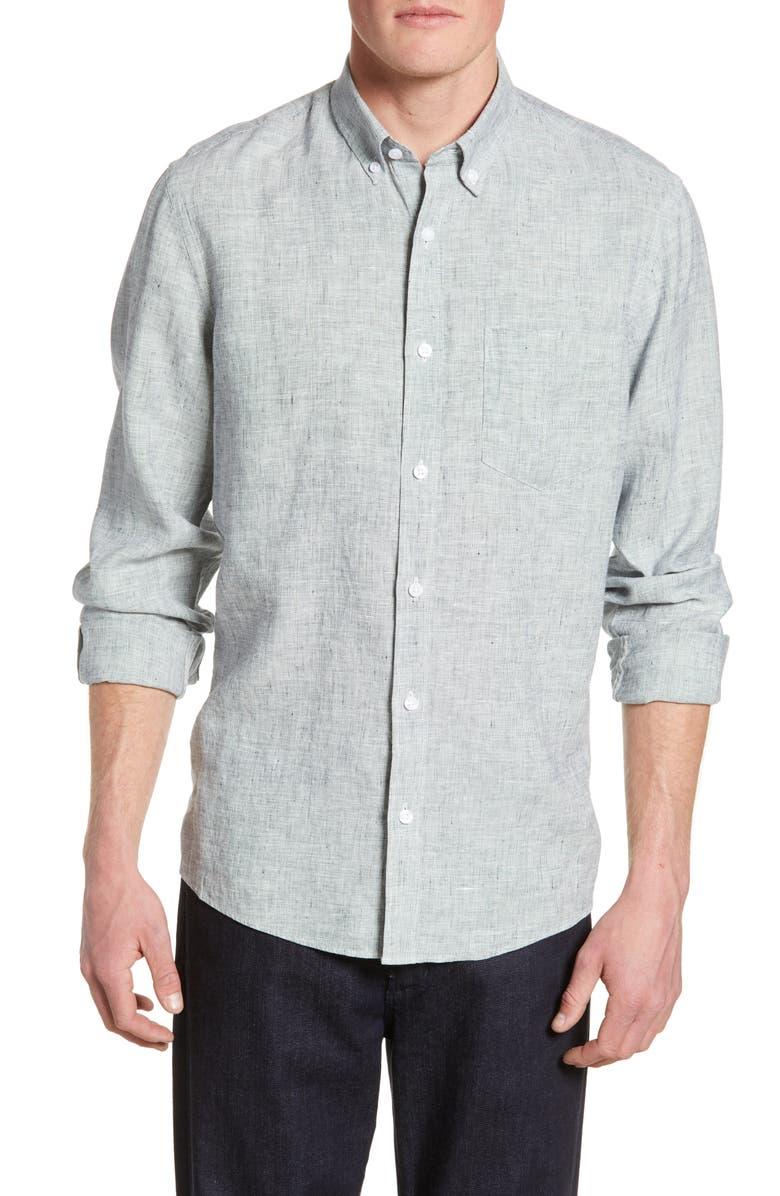 NORDSTROM MEN'S SHOP Nordstrom Mens Shop Trim Fit Linen Shirt, Main, color, NAVY BLAZER SOLID LINEN