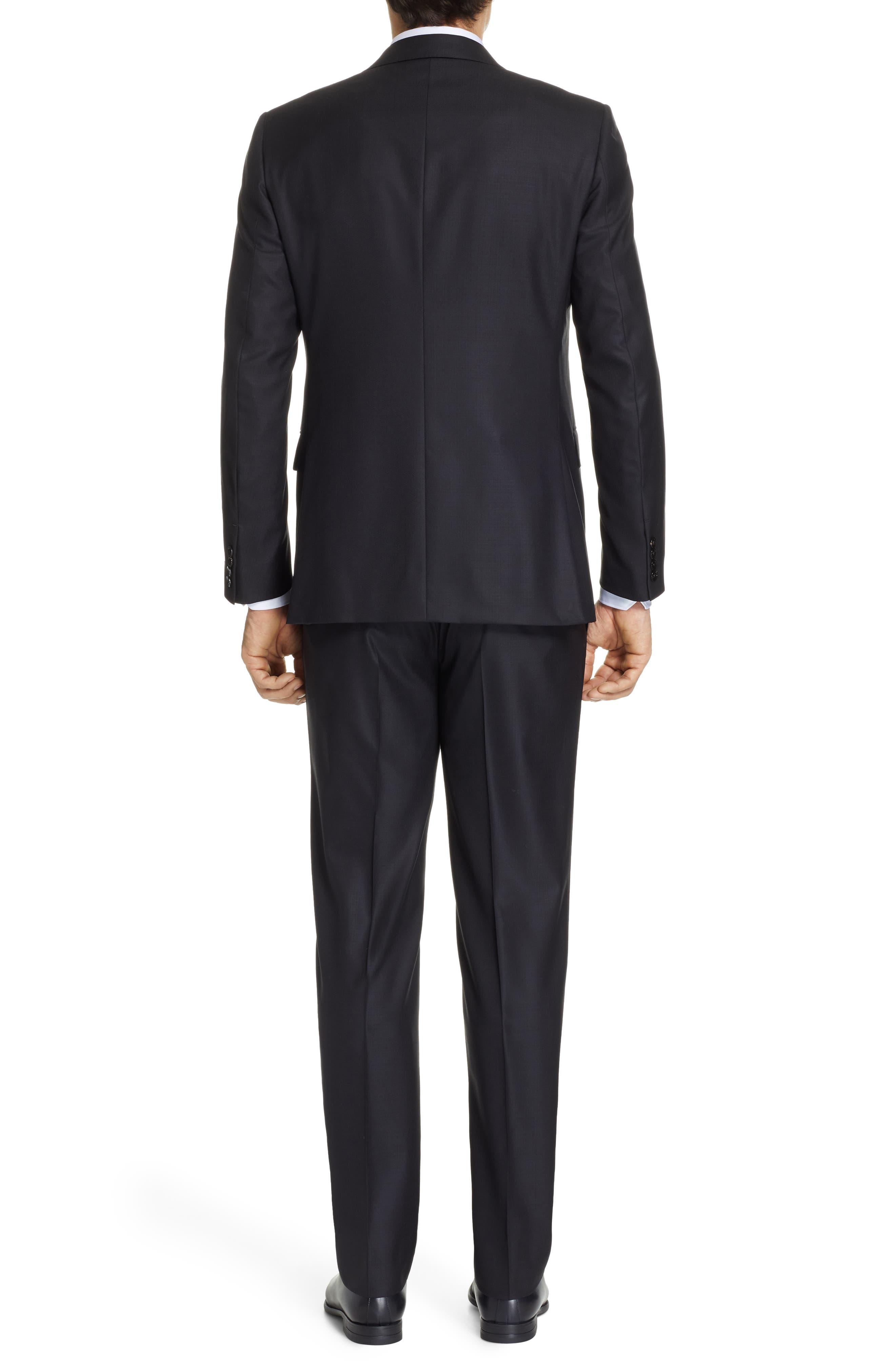 ,                             Classic Fit Plaid Wool Suit,                             Alternate thumbnail 2, color,                             BLACK
