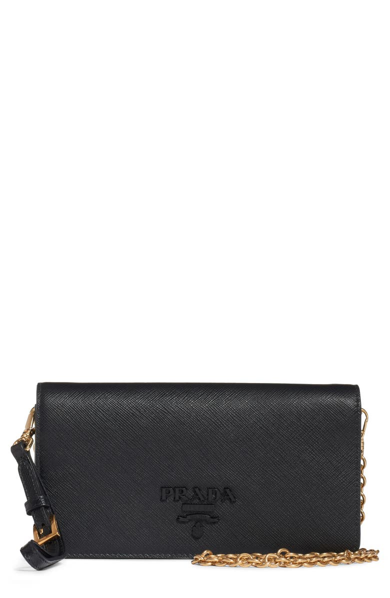 PRADA Mini Monochrome Wallet on a Chain, Main, color, NERO