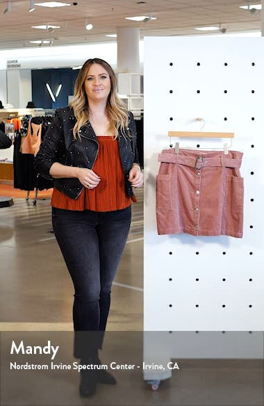 Corduroy Button Belted Miniskirt, sales video thumbnail