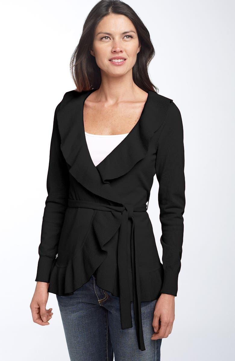 CASLON<SUP>®</SUP> Ruffle Wrap Cardigan, Main, color, BLACK