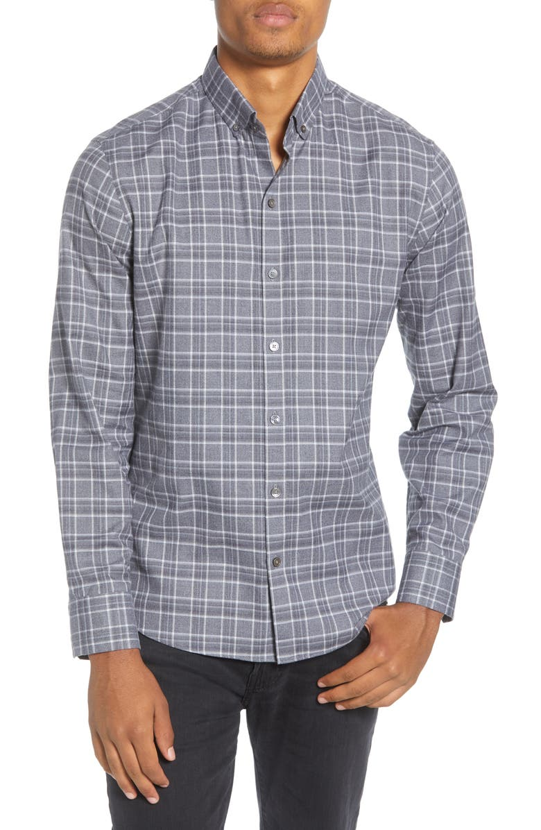 ZACHARY PRELL Serrecchia Regular Fit Plaid Button-Down Sport Shirt, Main, color, GREY