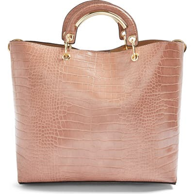 Topshop Tao Faux Leather Tote - Beige