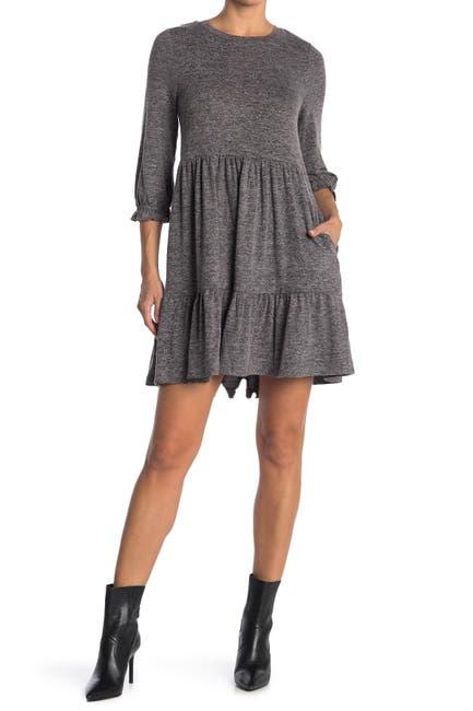 Image of MELLODAY Knit Crew Neck 3/4 Sleeve Babydoll Dress