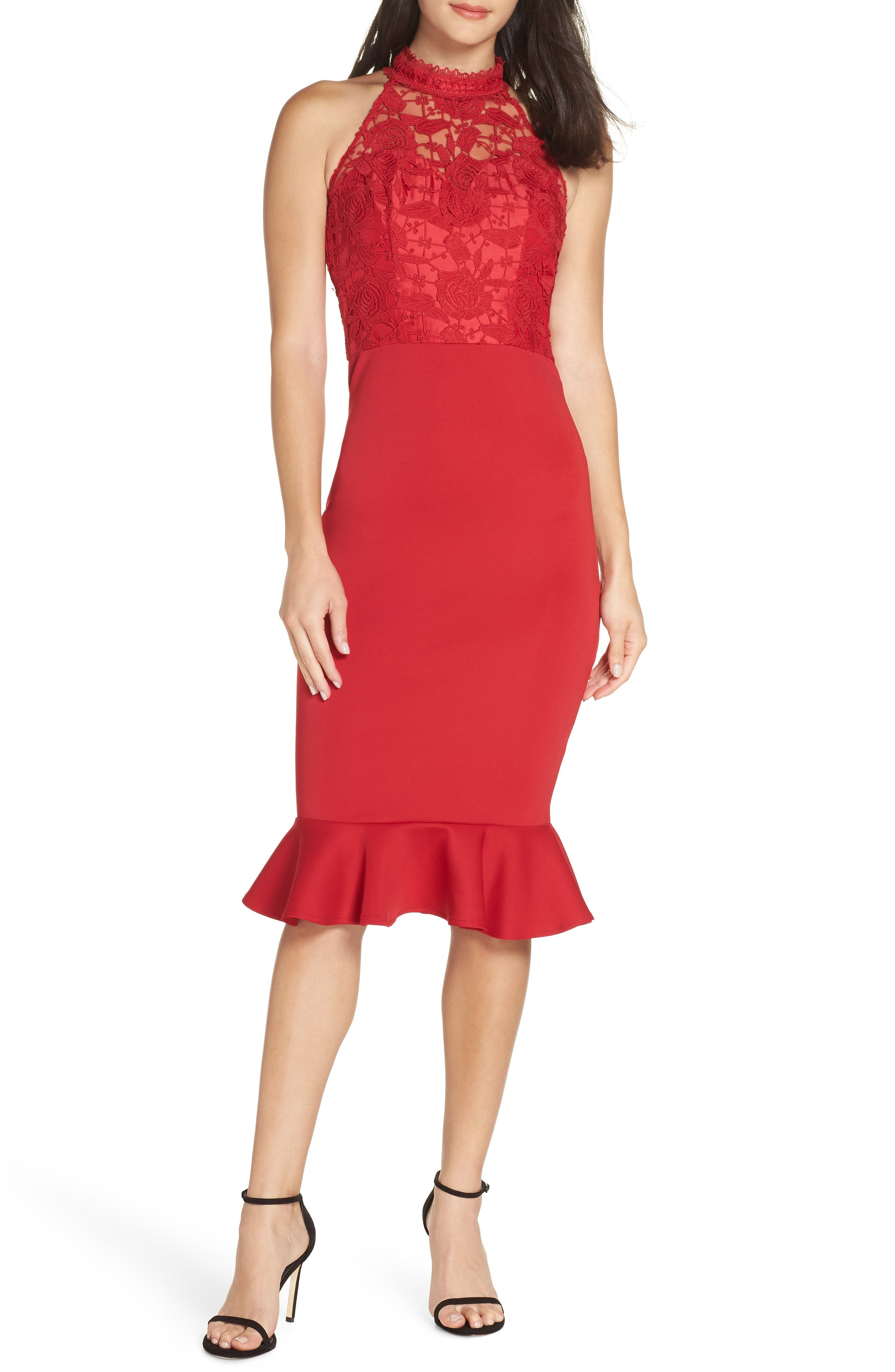 Chi Chi London Crochet Bodice Party Dress, Red