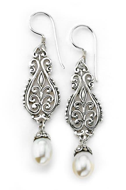 Image of Samuel B Jewelry Sterling Silver Filigree 7-8mm Freshwater Pearl Drop Earrings