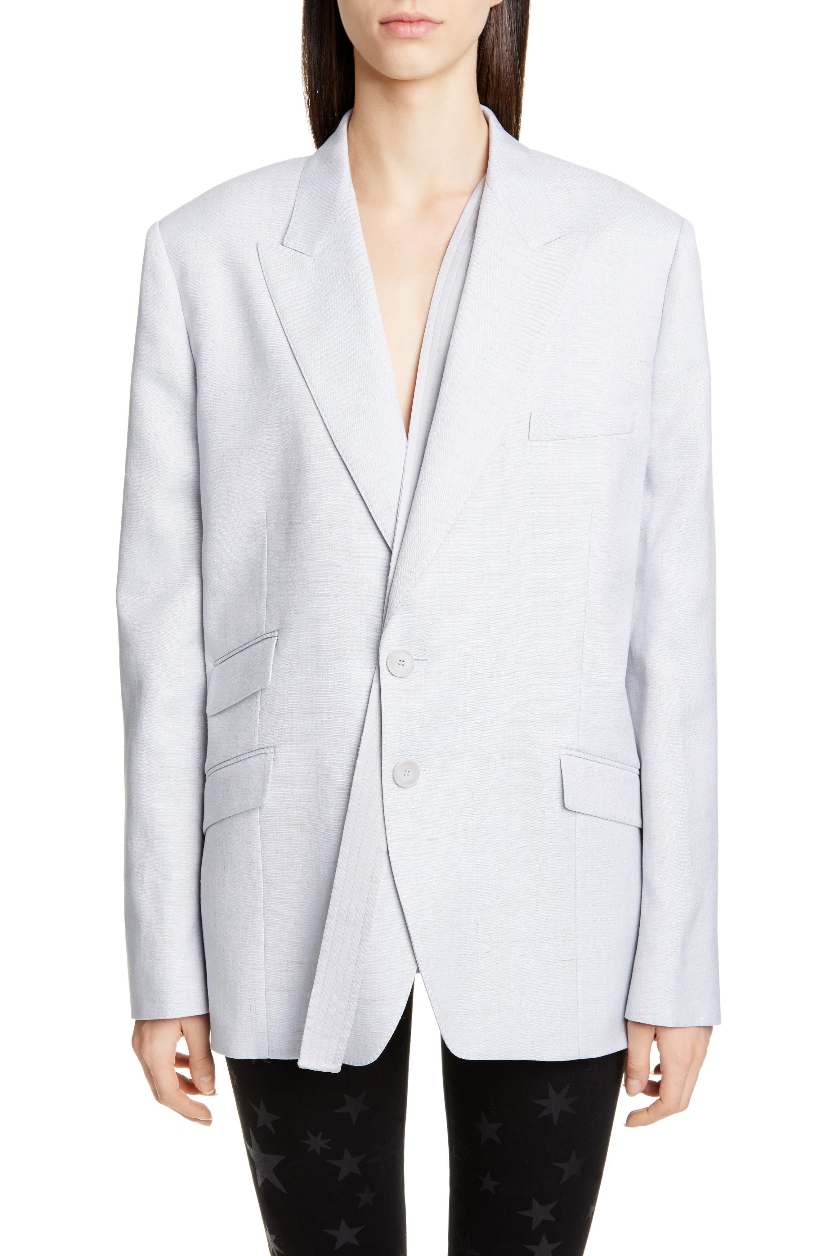 women's stella mccartney strap detail oversize blazer, size 4 us / 38 it - blue