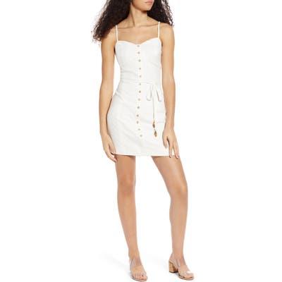 Moon River Button Front Minidress, White