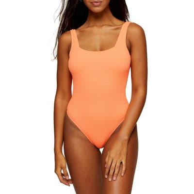 Topshop One-Piece Square Neck Swimsuit, US - Orange