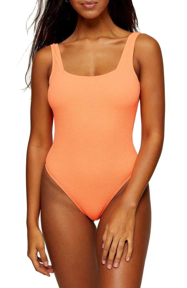 TOPSHOP One-Piece Square Neck Swimsuit, Main, color, ORANGE